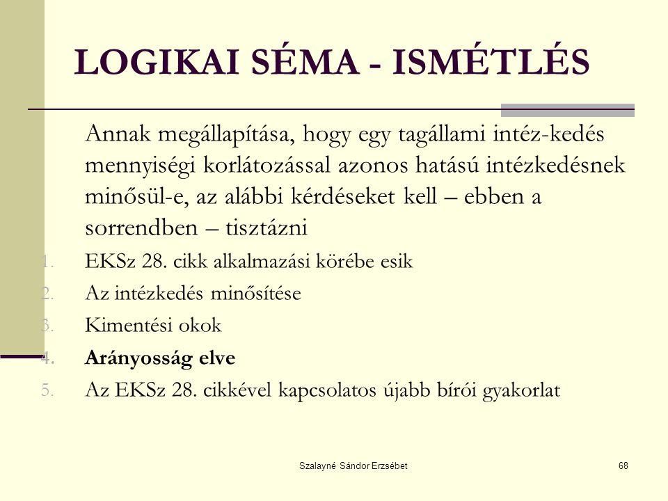 Szalayné Sándor Erzsébet68 LOGIKAI SÉMA - ISMÉTLÉS Annak megállapítása, hogy egy tagállami intéz-kedés mennyiségi korlátozással azonos hatású intézked