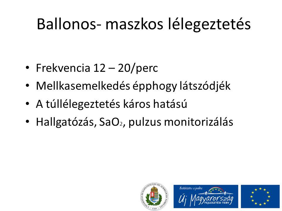 Ballonos- maszkos lélegeztetés Frekvencia 12 – 20/perc Mellkasemelkedés épphogy látszódjék A túllélegeztetés káros hatású Hallgatózás, SaO 2, pulzus m
