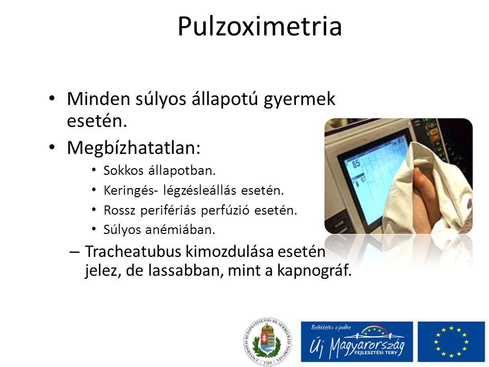 Pulzoximetria Minden súlyos állapotú gyermek esetén. Megbízhatatlan: Sokkos állapotban. Keringés- légzésleállás esetén. Rossz perifériás perfúzió eset