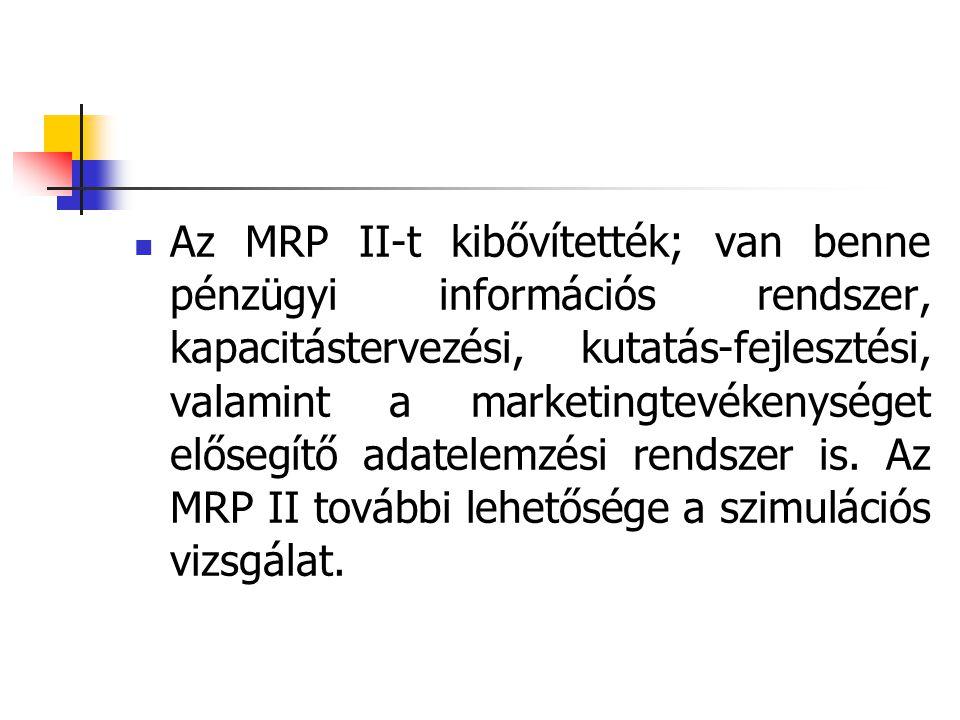 Az MRP II-t kibővítették; van benne pénzügyi információs rendszer, kapacitástervezési, kutatás-fejlesztési, valamint a marketingtevékenységet elősegít