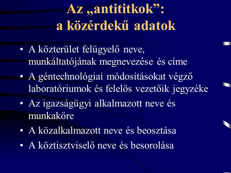 """Az """"antititkok"""": a közérdekű adatok A közterület felügyelő neve, munkáltatójának megnevezése és címe A géntechnológiai módosításokat végző laboratóriu"""