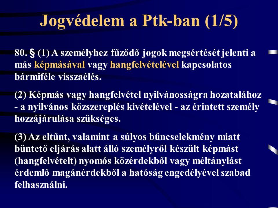 Jogvédelem a Ptk-ban (1/5) képmásávalhangfelvételével 80. § (1) A személyhez fűződő jogok megsértését jelenti a más képmásával vagy hangfelvételével k
