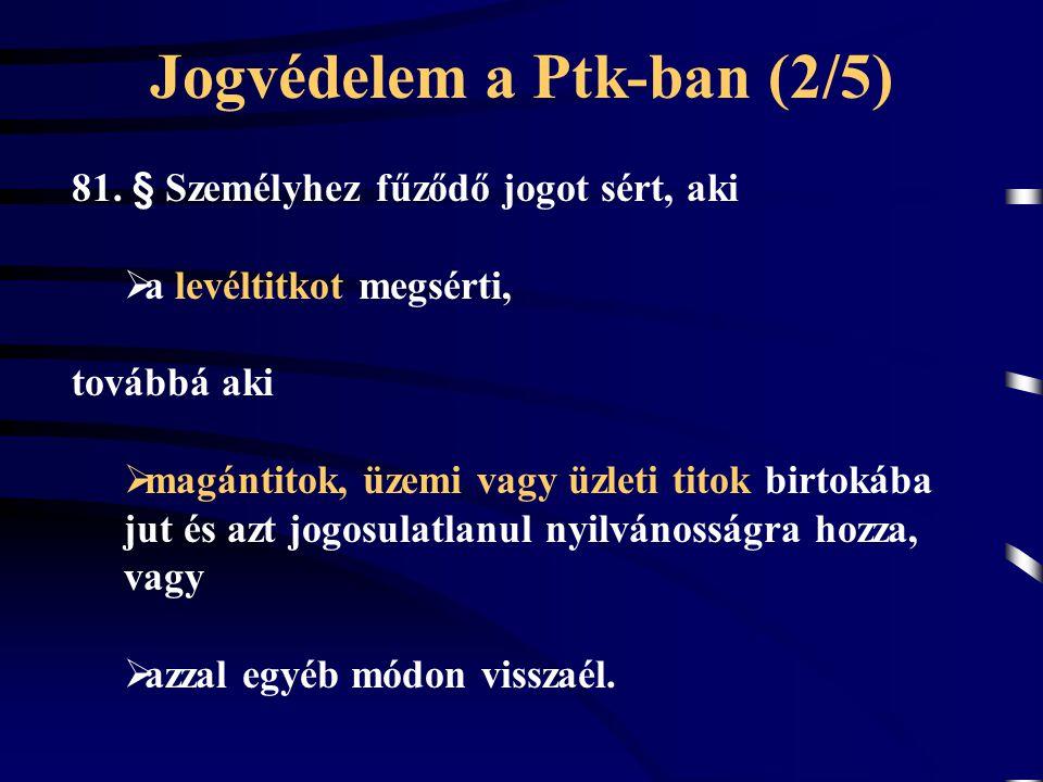 Jogvédelem a Ptk-ban (2/5) 81. § Személyhez fűződő jogot sért, aki  a levéltitkot megsérti, továbbá aki  magántitok, üzemi vagy üzleti titok birtoká