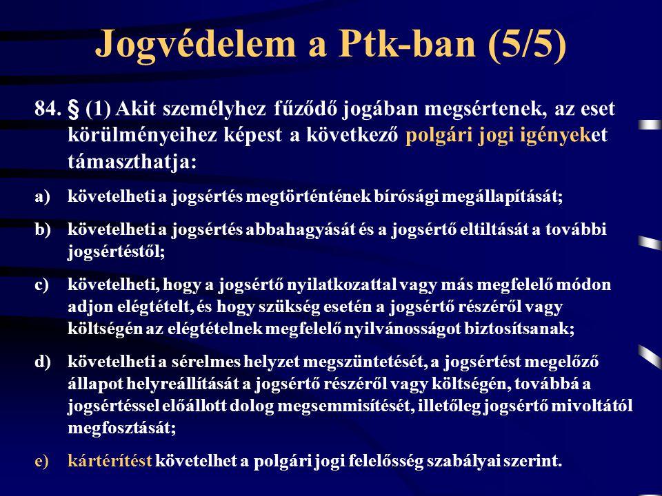 Jogvédelem a Ptk-ban (5/5) 84. § (1) Akit személyhez fűződő jogában megsértenek, az eset körülményeihez képest a következő polgári jogi igényeket táma