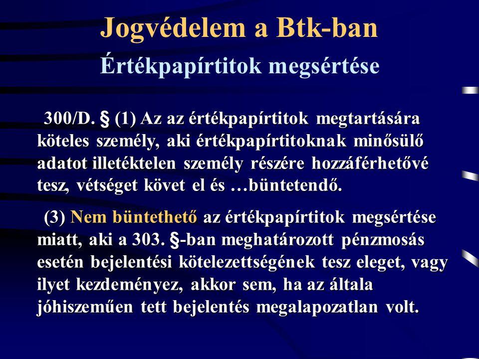 300/D. § (1) Az az értékpapírtitok megtartására köteles személy, aki értékpapírtitoknak minősülő adatot illetéktelen személy részére hozzáférhetővé te