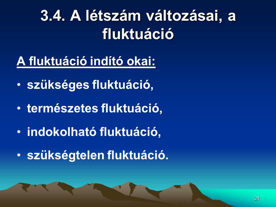 21 3.4. A létszám változásai, a fluktuáció A fluktuáció indító okai: szükséges fluktuáció, természetes fluktuáció, indokolható fluktuáció, szükségtele