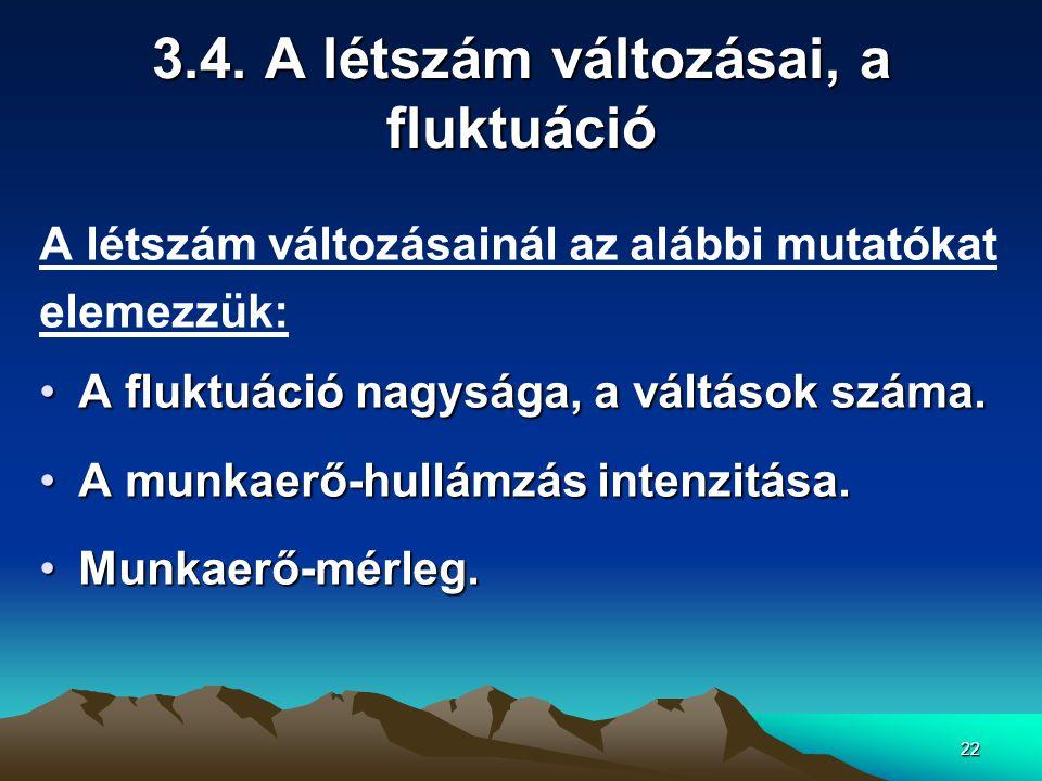 22 3.4. A létszám változásai, a fluktuáció A létszám változásainál az alábbi mutatókat elemezzük: A fluktuáció nagysága, a váltások száma.A fluktuáció