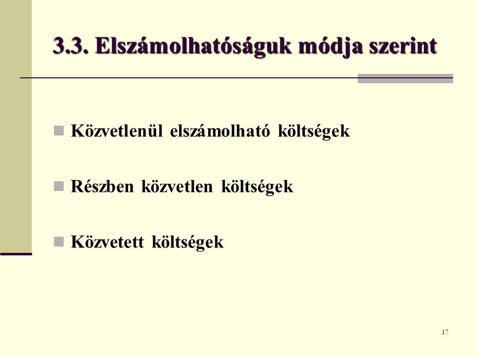 17 3.3. Elszámolhatóságuk módja szerint Közvetlenül elszámolható költségek Részben közvetlen költségek Közvetett költségek