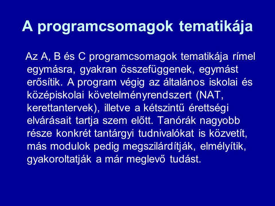 A programcsomagok tematikája Az A, B és C programcsomagok tematikája rímel egymásra, gyakran összefüggenek, egymást erősítik. A program végig az által