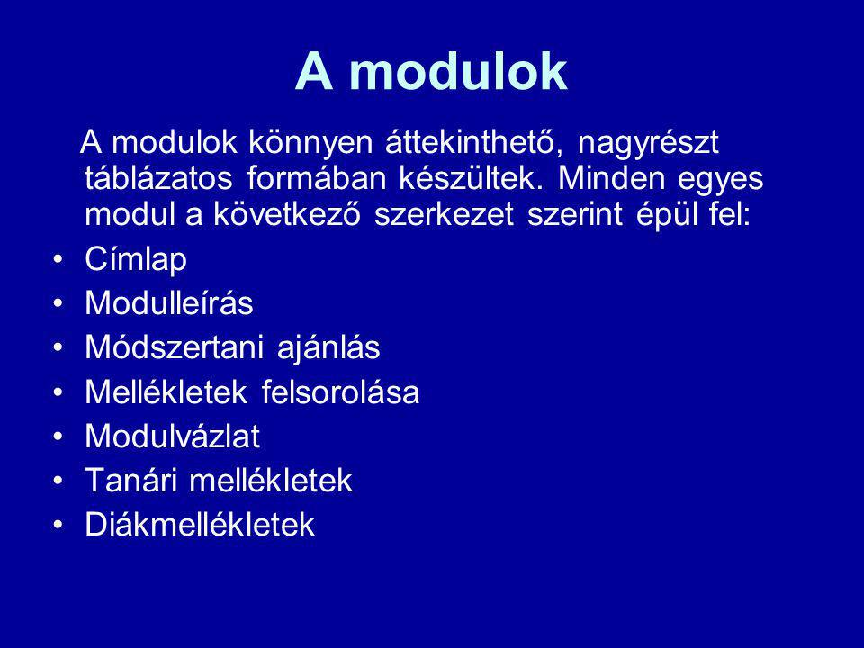 A modulok A modulok könnyen áttekinthető, nagyrészt táblázatos formában készültek. Minden egyes modul a következő szerkezet szerint épül fel: Címlap M