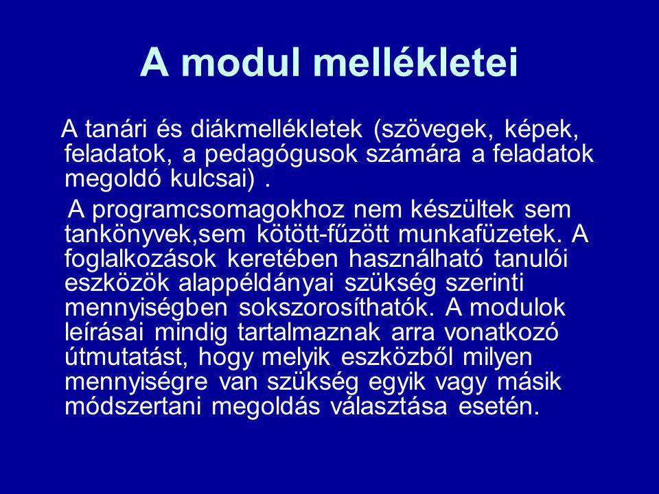 A modul mellékletei A tanári és diákmellékletek (szövegek, képek, feladatok, a pedagógusok számára a feladatok megoldó kulcsai). A programcsomagokhoz