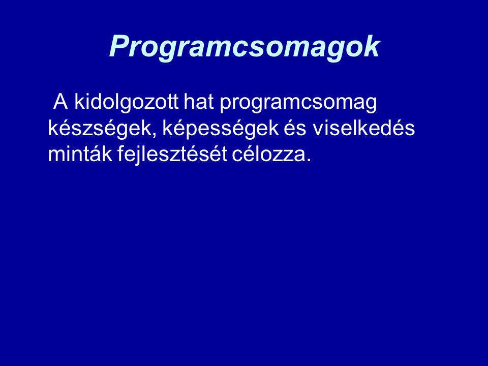 Programcsomagok A kidolgozott hat programcsomag készségek, képességek és viselkedés minták fejlesztését célozza.