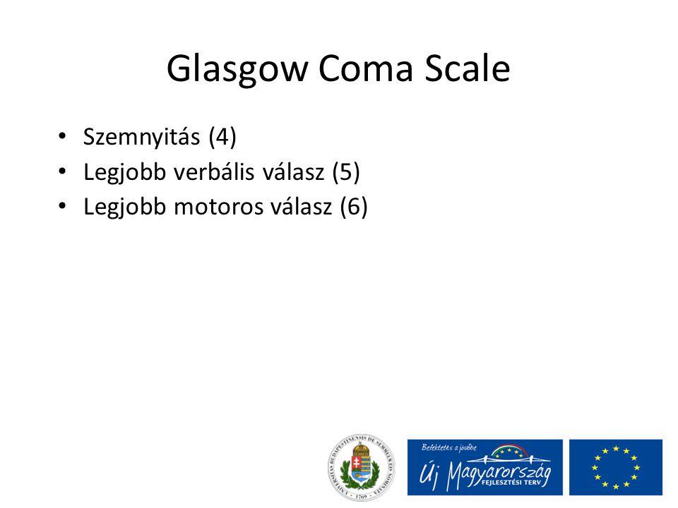 Glasgow Coma Scale Szemnyitás (4) Legjobb verbális válasz (5) Legjobb motoros válasz (6)