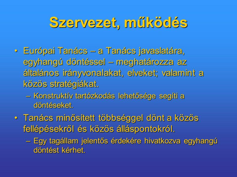 Szervezet, működés Európai Tanács – a Tanács javaslatára, egyhangú döntéssel – meghatározza az általános irányvonalakat, elveket; valamint a közös stratégiákat.Európai Tanács – a Tanács javaslatára, egyhangú döntéssel – meghatározza az általános irányvonalakat, elveket; valamint a közös stratégiákat.