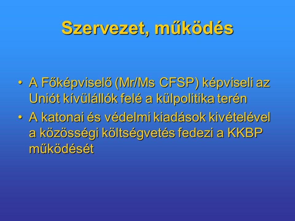 Szervezet, működés A Főképviselő (Mr/Ms CFSP) képviseli az Uniót kívülállók felé a külpolitika terénA Főképviselő (Mr/Ms CFSP) képviseli az Uniót kívülállók felé a külpolitika terén A katonai és védelmi kiadások kivételével a közösségi költségvetés fedezi a KKBP működésétA katonai és védelmi kiadások kivételével a közösségi költségvetés fedezi a KKBP működését