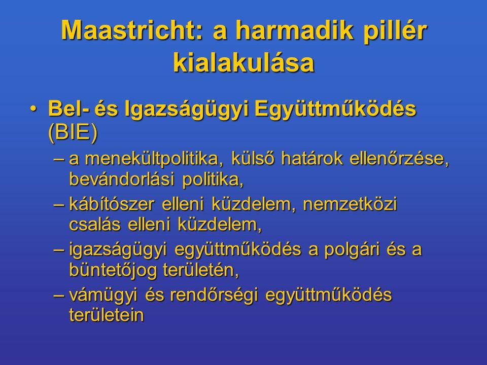 Maastricht: a harmadik pillér kialakulása Bel- és Igazságügyi Együttműködés (BIE)Bel- és Igazságügyi Együttműködés (BIE) –a menekültpolitika, külső határok ellenőrzése, bevándorlási politika, –kábítószer elleni küzdelem, nemzetközi csalás elleni küzdelem, –igazságügyi együttműködés a polgári és a büntetőjog területén, –vámügyi és rendőrségi együttműködés területein