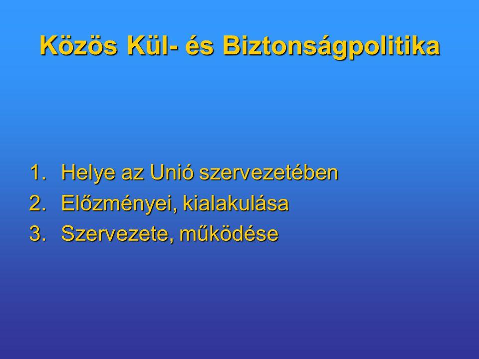 Az Unió pilléres szerkezete E(G)K(ESZAK)EURATOM1 KKBP2B(R)IE3 UNIÓ