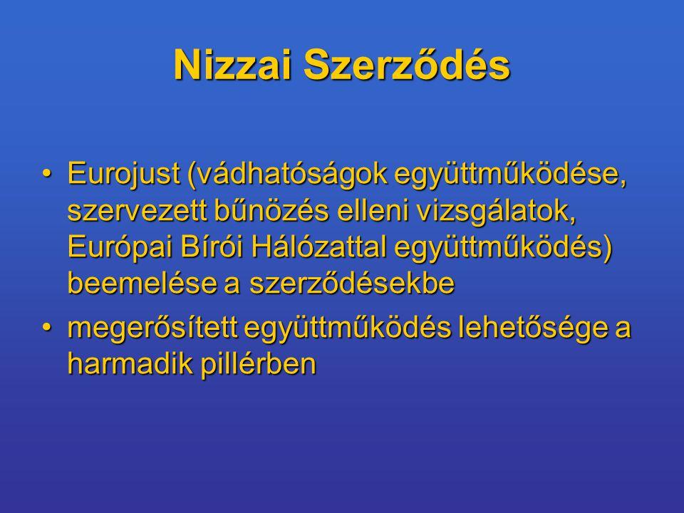 Nizzai Szerződés Eurojust (vádhatóságok együttműködése, szervezett bűnözés elleni vizsgálatok, Európai Bírói Hálózattal együttműködés) beemelése a szerződésekbeEurojust (vádhatóságok együttműködése, szervezett bűnözés elleni vizsgálatok, Európai Bírói Hálózattal együttműködés) beemelése a szerződésekbe megerősített együttműködés lehetősége a harmadik pillérbenmegerősített együttműködés lehetősége a harmadik pillérben