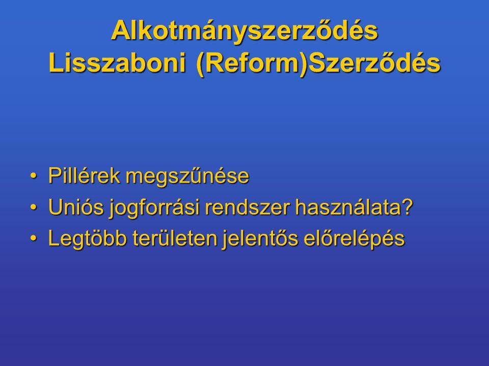 Alkotmányszerződés Lisszaboni (Reform)Szerződés Pillérek megszűnésePillérek megszűnése Uniós jogforrási rendszer használata?Uniós jogforrási rendszer használata.