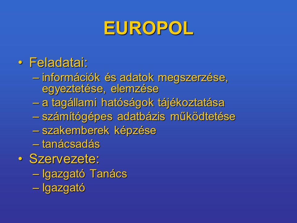 EUROPOL Feladatai:Feladatai: –információk és adatok megszerzése, egyeztetése, elemzése –a tagállami hatóságok tájékoztatása –számítógépes adatbázis működtetése –szakemberek képzése –tanácsadás Szervezete:Szervezete: –Igazgató Tanács –Igazgató