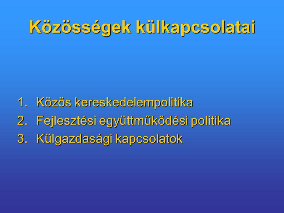 Közösségek külkapcsolatai 1.Közös kereskedelempolitika 2.Fejlesztési együttműködési politika 3.Külgazdasági kapcsolatok
