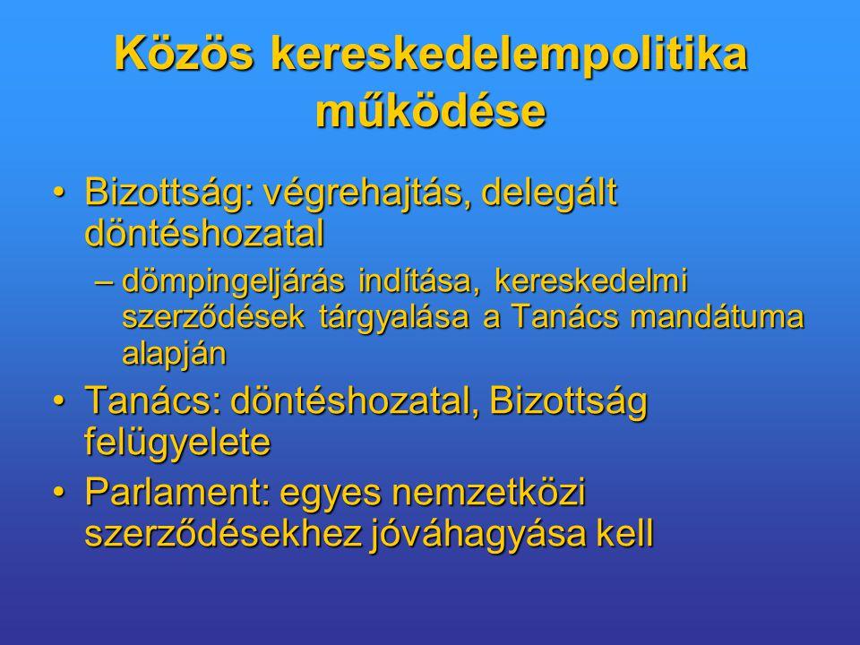 Közös kereskedelempolitika működése Bizottság: végrehajtás, delegált döntéshozatalBizottság: végrehajtás, delegált döntéshozatal –dömpingeljárás indítása, kereskedelmi szerződések tárgyalása a Tanács mandátuma alapján Tanács: döntéshozatal, Bizottság felügyeleteTanács: döntéshozatal, Bizottság felügyelete Parlament: egyes nemzetközi szerződésekhez jóváhagyása kellParlament: egyes nemzetközi szerződésekhez jóváhagyása kell