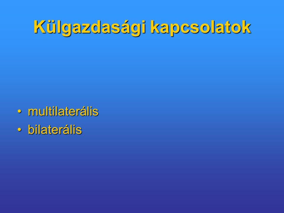 Külgazdasági kapcsolatok multilaterálismultilaterális bilaterálisbilaterális