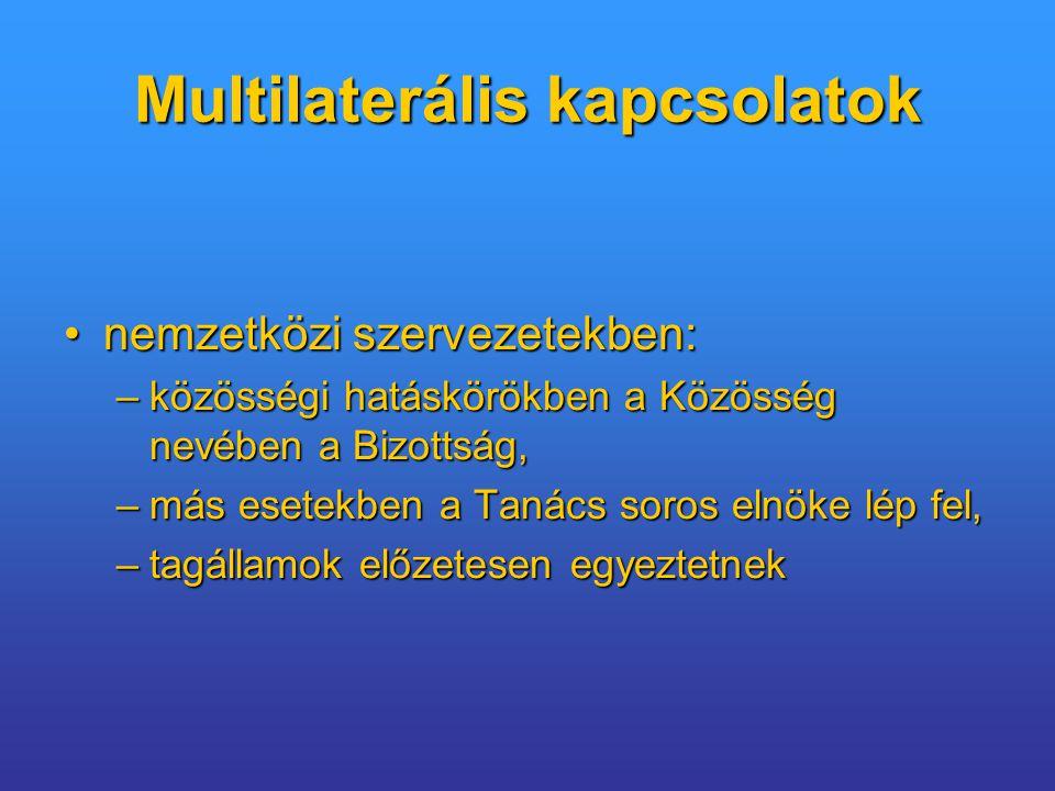 Multilaterális kapcsolatok nemzetközi szervezetekben:nemzetközi szervezetekben: –közösségi hatáskörökben a Közösség nevében a Bizottság, –más esetekben a Tanács soros elnöke lép fel, –tagállamok előzetesen egyeztetnek