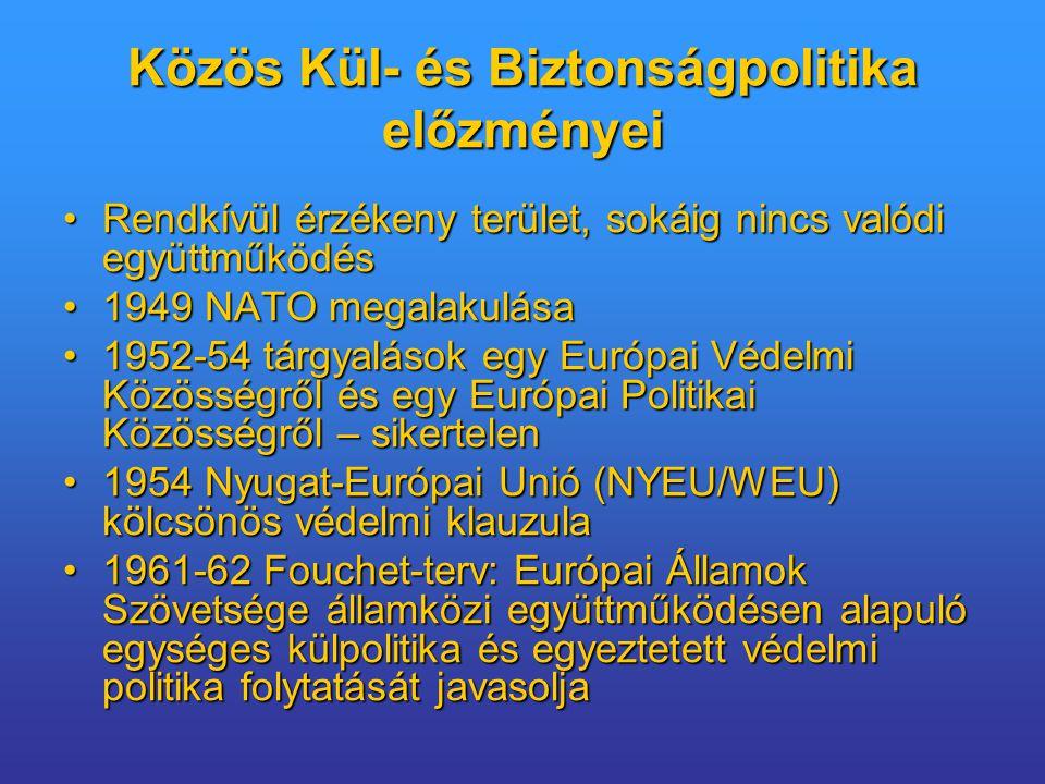 Közös Kül- és Biztonságpolitika előzményei Rendkívül érzékeny terület, sokáig nincs valódi együttműködésRendkívül érzékeny terület, sokáig nincs valódi együttműködés 1949 NATO megalakulása1949 NATO megalakulása 1952-54 tárgyalások egy Európai Védelmi Közösségről és egy Európai Politikai Közösségről – sikertelen1952-54 tárgyalások egy Európai Védelmi Közösségről és egy Európai Politikai Közösségről – sikertelen 1954 Nyugat-Európai Unió (NYEU/WEU) kölcsönös védelmi klauzula1954 Nyugat-Európai Unió (NYEU/WEU) kölcsönös védelmi klauzula 1961-62 Fouchet-terv: Európai Államok Szövetsége államközi együttműködésen alapuló egységes külpolitika és egyeztetett védelmi politika folytatását javasolja1961-62 Fouchet-terv: Európai Államok Szövetsége államközi együttműködésen alapuló egységes külpolitika és egyeztetett védelmi politika folytatását javasolja