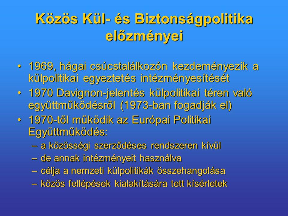 1969, hágai csúcstalálkozón kezdeményezik a külpolitikai egyeztetés intézményesítését1969, hágai csúcstalálkozón kezdeményezik a külpolitikai egyeztetés intézményesítését 1970 Davignon-jelentés külpolitikai téren való együttműködésről (1973-ban fogadják el)1970 Davignon-jelentés külpolitikai téren való együttműködésről (1973-ban fogadják el) 1970-től működik az Európai Politikai Együttműködés:1970-től működik az Európai Politikai Együttműködés: –a közösségi szerződéses rendszeren kívül –de annak intézményeit használva –célja a nemzeti külpolitikák összehangolása –közös fellépések kialakítására tett kísérletek Közös Kül- és Biztonságpolitika előzményei