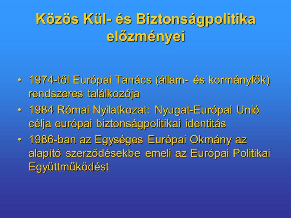 Amszterdami Szerződés Schengeni Megállapodást az Unióba betagoljákSchengeni Megállapodást az Unióba betagolják Harmadik pillér egy részét (vízum, menekültügy, bevándorlás, személyek szabad mozgása) az EKSZ IV címébe emeli átHarmadik pillér egy részét (vízum, menekültügy, bevándorlás, személyek szabad mozgása) az EKSZ IV címébe emeli át Büntetőügyekben folytatott Rendőri és Igazságügyi Együttműködés marad a harmadik pillérben;Büntetőügyekben folytatott Rendőri és Igazságügyi Együttműködés marad a harmadik pillérben; hangsúlyosabb a szervezett bűnözés elleni küzdelem; Europol erősítésehangsúlyosabb a szervezett bűnözés elleni küzdelem; Europol erősítése kötelező jogforrások:kötelező jogforrások: –egyezmény, közös álláspont, kerethatározat, határozat