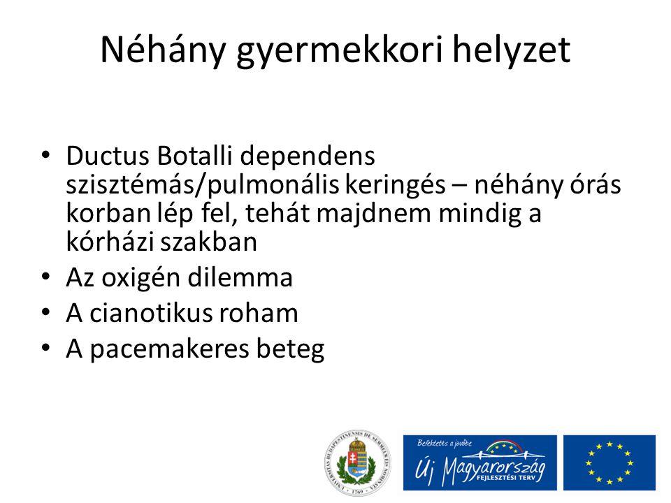 Néhány gyermekkori helyzet Ductus Botalli dependens szisztémás/pulmonális keringés – néhány órás korban lép fel, tehát majdnem mindig a kórházi szakba