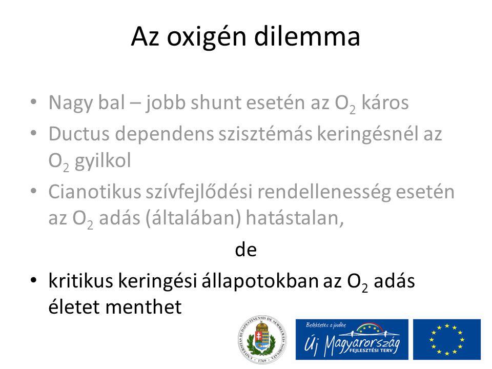 Az oxigén dilemma Nagy bal – jobb shunt esetén az O 2 káros Ductus dependens szisztémás keringésnél az O 2 gyilkol Cianotikus szívfejlődési rendellene
