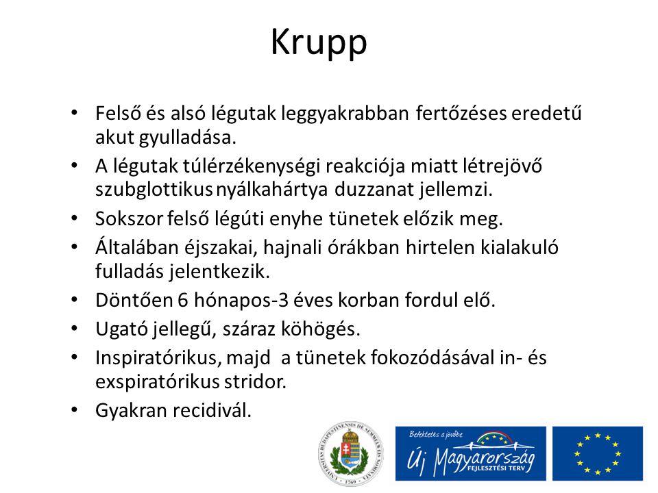Krupp Felső és alsó légutak leggyakrabban fertőzéses eredetű akut gyulladása. A légutak túlérzékenységi reakciója miatt létrejövő szubglottikus nyálka