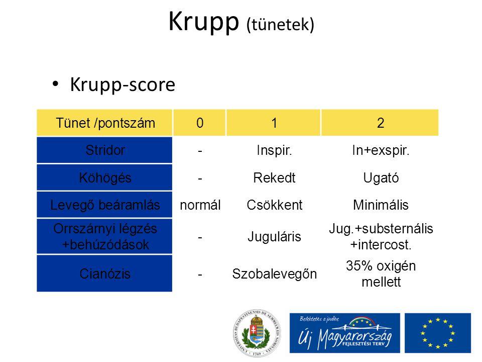 Krupp (tünetek) Krupp-score Tünet /pontszám012 Stridor-Inspir.In+exspir. Köhögés-RekedtUgató Levegő beáramlásnormálCsökkentMinimális Orrszárnyi légzés