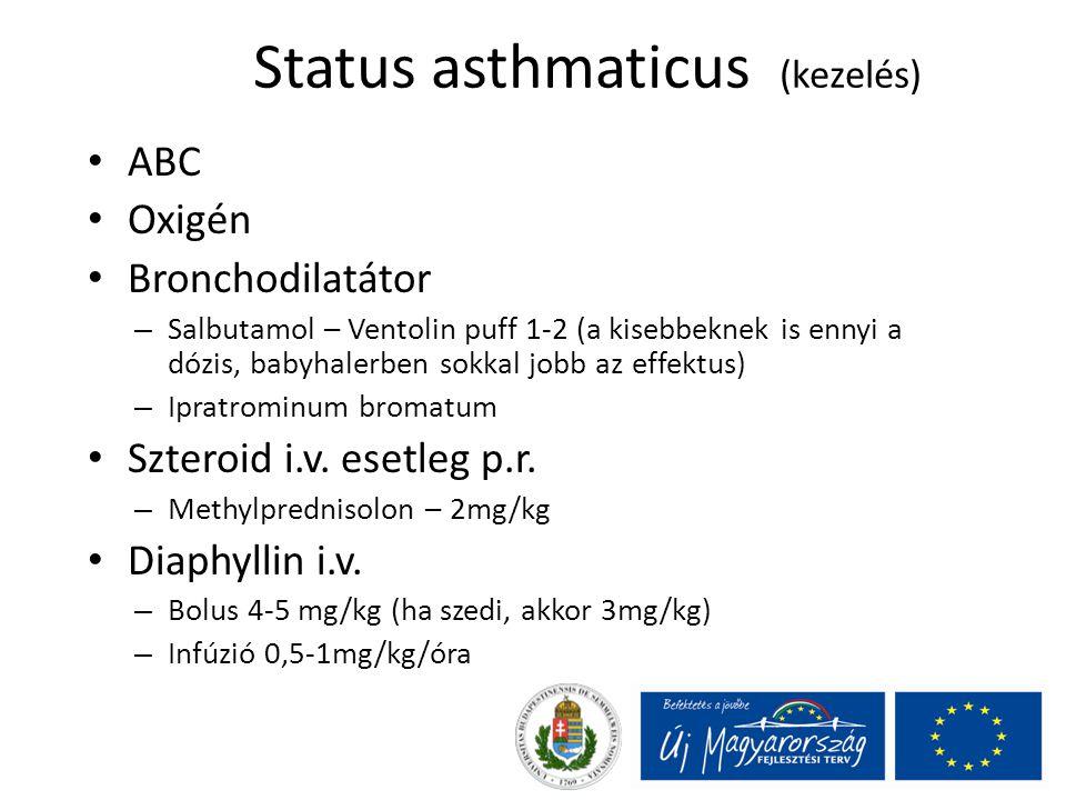 Status asthmaticus (kezelés) ABC Oxigén Bronchodilatátor – Salbutamol – Ventolin puff 1-2 (a kisebbeknek is ennyi a dózis, babyhalerben sokkal jobb az