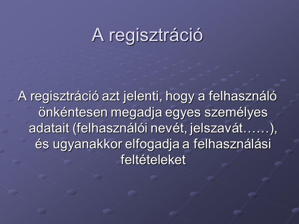 A regisztráció A regisztráció azt jelenti, hogy a felhasználó önkéntesen megadja egyes személyes adatait (felhasználói nevét, jelszavát……), és ugyanak
