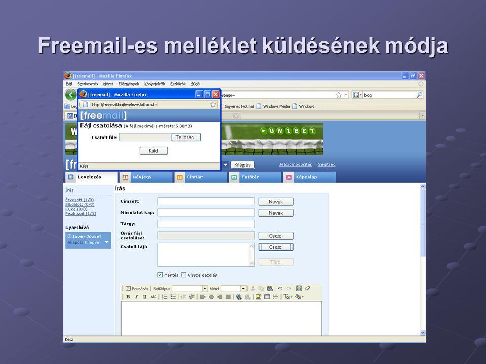 Freemail-es melléklet küldésének módja