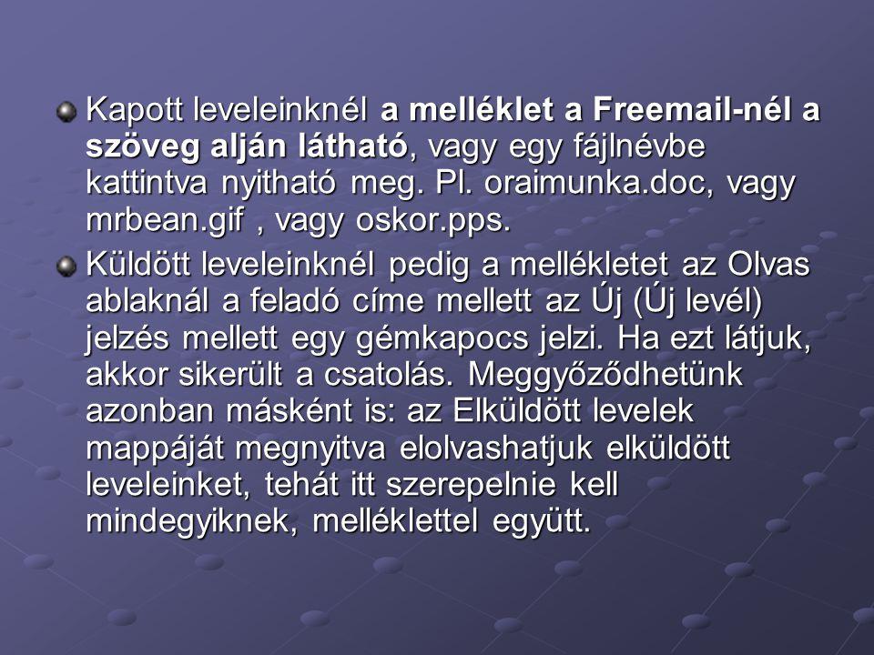 Kapott leveleinknél a melléklet a Freemail-nél a szöveg alján látható, vagy egy fájlnévbe kattintva nyitható meg. Pl. oraimunka.doc, vagy mrbean.gif,