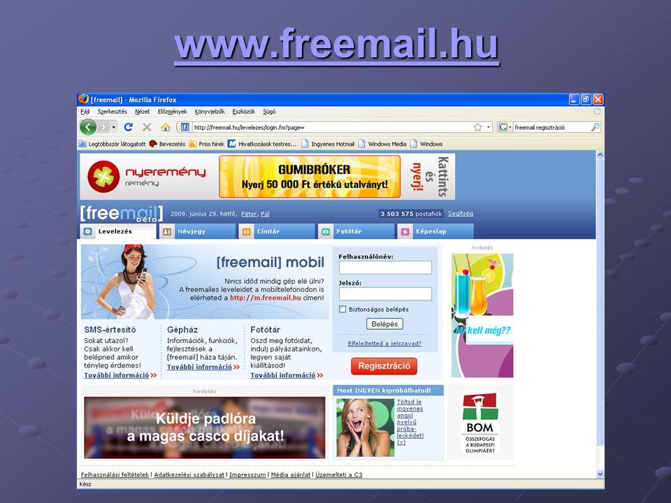 Freemail-es melléklet küldésének módja Csatolt fájlként küldhetünk mellékleteket is levelünkkel.