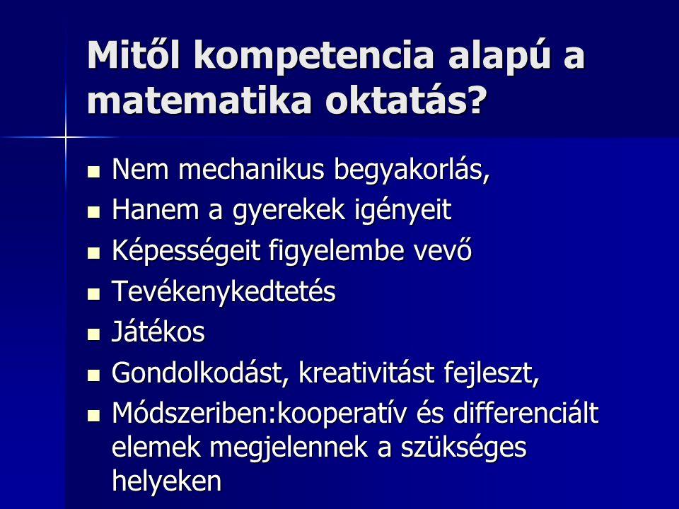 Mitől kompetencia alapú a matematika oktatás? Nem mechanikus begyakorlás, Nem mechanikus begyakorlás, Hanem a gyerekek igényeit Hanem a gyerekek igény