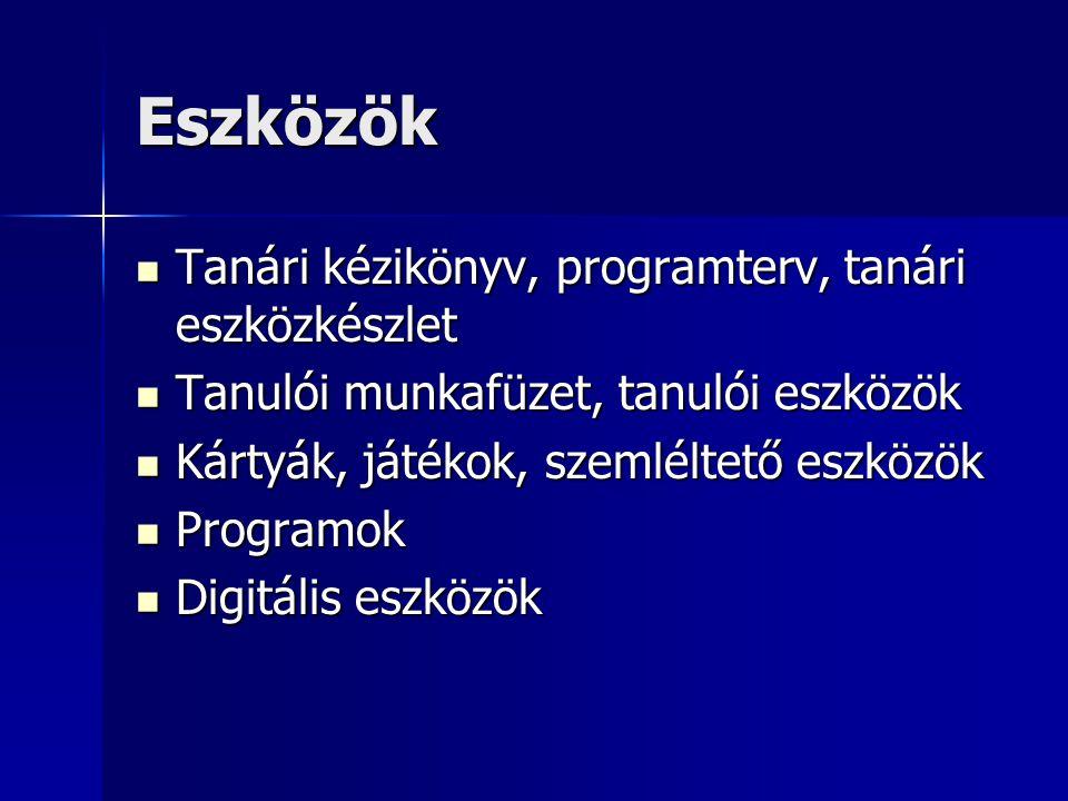 Eszközök Tanári kézikönyv, programterv, tanári eszközkészlet Tanári kézikönyv, programterv, tanári eszközkészlet Tanulói munkafüzet, tanulói eszközök