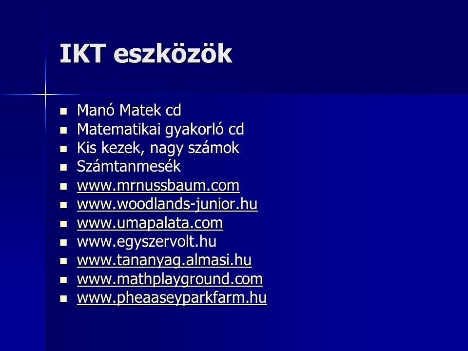 IKT eszközök Manó Matek cd Manó Matek cd Matematikai gyakorló cd Matematikai gyakorló cd Kis kezek, nagy számok Kis kezek, nagy számok Számtanmesék Sz
