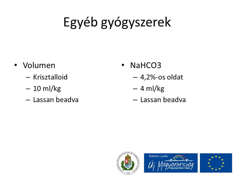 Egyéb gyógyszerek Volumen – Krisztalloid – 10 ml/kg – Lassan beadva NaHCO3 – 4,2%-os oldat – 4 ml/kg – Lassan beadva