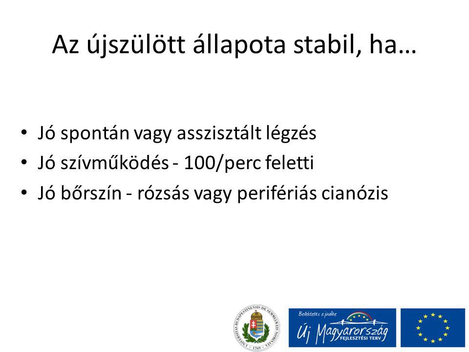 Az újszülött állapota stabil, ha… Jó spontán vagy asszisztált légzés Jó szívműködés - 100/perc feletti Jó bőrszín - rózsás vagy perifériás cianózis