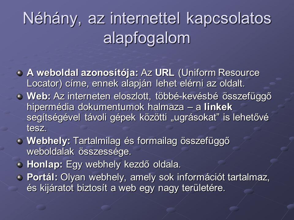 Néhány, az internettel kapcsolatos alapfogalom A weboldal azonosítója: Az URL (Uniform Resource Locator) címe, ennek alapján lehet elérni az oldalt.