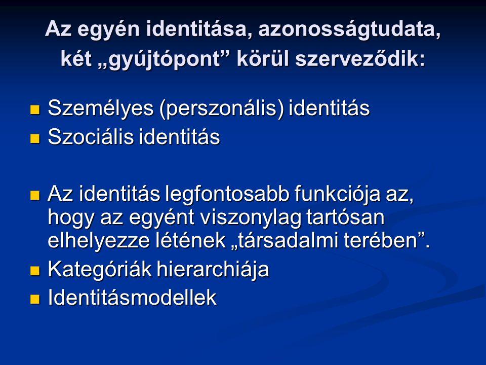 """Az egyén identitása, azonosságtudata, két """"gyújtópont"""" körül szerveződik: Személyes (perszonális) identitás Személyes (perszonális) identitás Szociáli"""