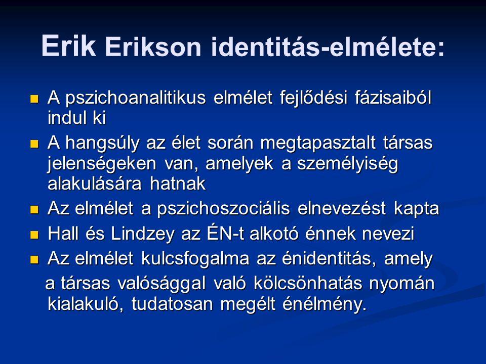 Erik Erikson identitás-elmélete: A pszichoanalitikus elmélet fejlődési fázisaiból indul ki A pszichoanalitikus elmélet fejlődési fázisaiból indul ki A