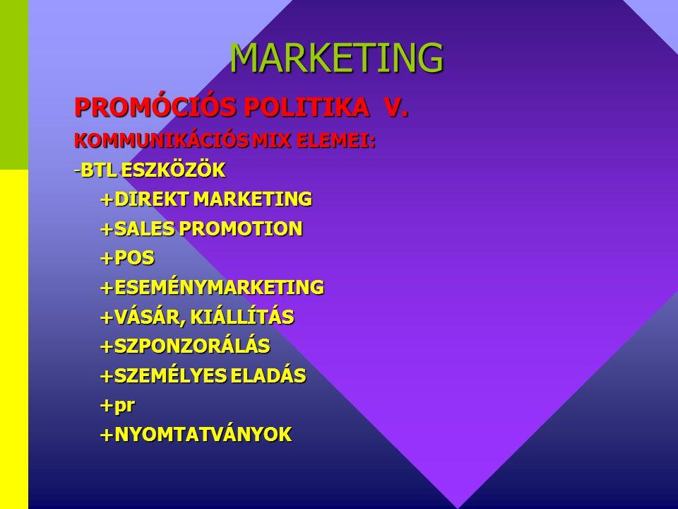 MARKETING PROMÓCIÓS POLITIKA IV. KOMMUNIKÁCIÓS MIX ELEMEI: - ATL ESZKÖZÖK +NYOMTATOTT SAJTÓ +SZABADTÉRI ESZKÖZÖK +RÁDIÓ+TV+MOZI+INTERNET