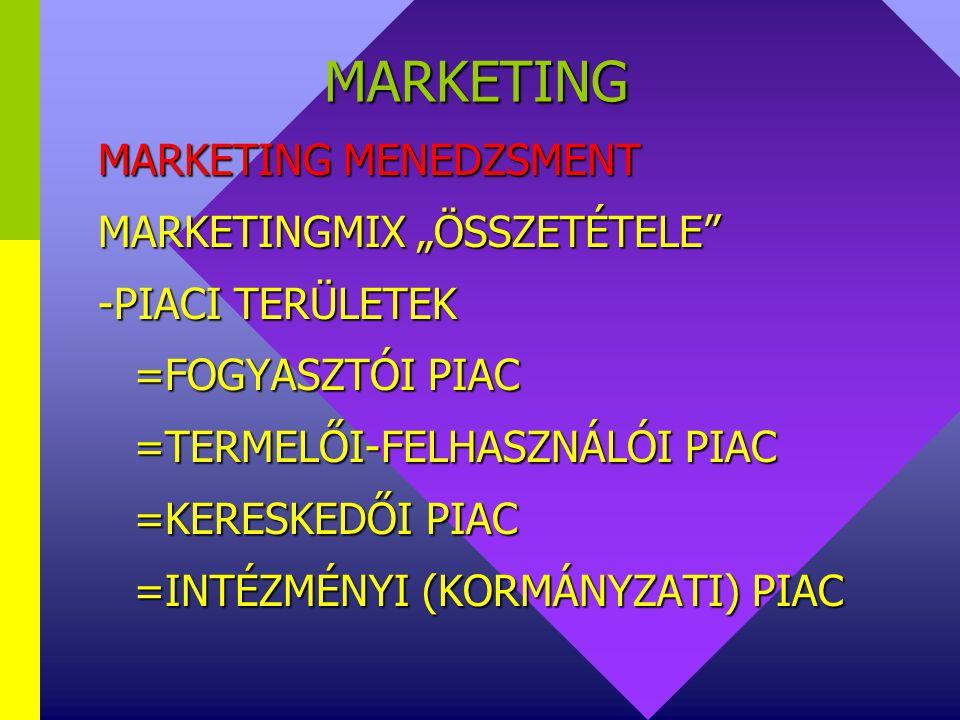 MARKETING MARKETING MENEDZSMENT MARKETINGMIX (McCARTHY) 4P -PRODUCT (TERMÉKPOLITIKA) -PRICE(ÁRPOLITIKA) -PLACE, DISTRIBUTION (ÉRTÉKESÍTÉSI CSATORNAPOL